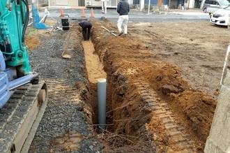 旗竿地の配管工事